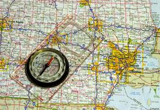 Map and compass. A compass on a map of north america Royalty Free Stock Photography