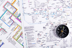 Map and compass. Transportion logistic map with compass Royalty Free Stock Image