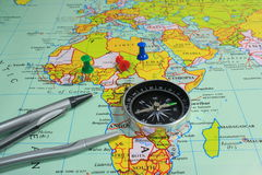 MAP & COMPASS Stock Image