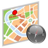 Map and compass. Illustration of a city map and a compass isolated on white background Stock Photography