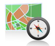 Map with Compass. An illustration of map and compass Stock Photography