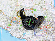 Map with compass. A map from Mexico with an compass in preparation for an trip to south Stock Image