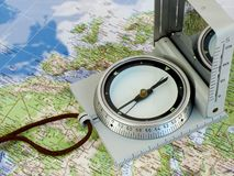 Map compass. Compass on Map royalty free stock images