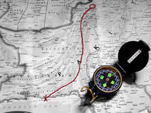 Map and compass. Compass and map Royalty Free Stock Image