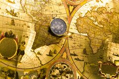 Map and compass Royalty Free Stock Images