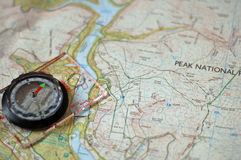 Map and Compass. With a close up on the compass Royalty Free Stock Images