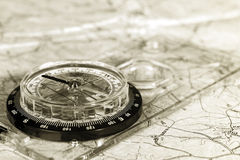 Map and compass Stock Photography