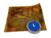 Map and compass. 3d illustration of old map and compass on it Stock Photography