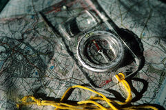 Map and Compass. Map and compass layed out for planning trip Royalty Free Stock Photography