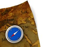 Map and compass background Royalty Free Stock Images