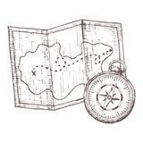 Camping and tourism equipment. Map and compass for camping tourism, cartoon sketch illustration of travel equipment. Vector Royalty Free Stock Photos