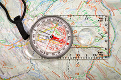 Map and compass Stock Photos