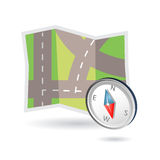 Map and compass icon. Illustration of road map and compass may be used as icon for gps systems Royalty Free Stock Image