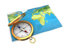 Map and compass isolated Royalty Free Stock Images