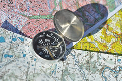 Map and compass. Royalty Free Stock Photos