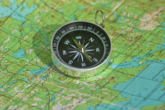 Map with a compass. Royalty Free Stock Photo