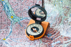 Map and compass. Stock Photography