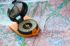 Map and compass. Stock Image