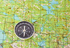 Map with compass. Royalty Free Stock Photos