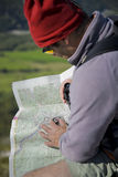 Map and compass orienteering outdoors Stock Image