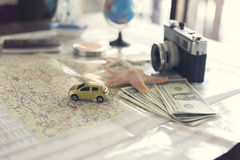 map, compass, passport, banknote, globe, camera, ship car and st Royalty Free Stock Images