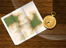 Map and compass plan to travel. Stock Photos