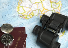 Map, compass and prismatic Royalty Free Stock Photo