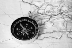 Map with compass. Simple navigation tools to orient in the world. Education Stock Photo
