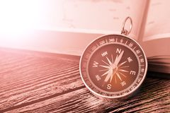 Map with compass. Simple navigation tools to orient in the world. Travel Royalty Free Stock Photo