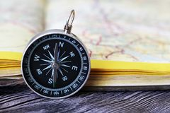 Map with compass. Simple navigation tools to orient in the world. Travel Royalty Free Stock Images