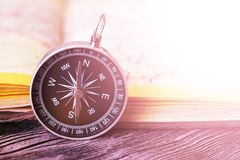 Map with compass. Simple navigation tools to orient in the world. Travel Stock Images