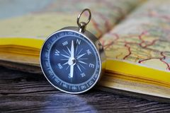 Map with compass. Simple navigation tools to orient in the world. Travel Stock Photography