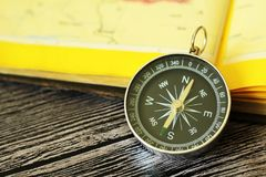 Map with compass. Simple navigation tools to orient in the world. Travel Royalty Free Stock Photography