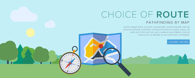 Map and compass vector. Find the way. Map and Compass. Flat Vector Illustration royalty free illustration