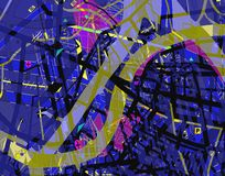 Map confusion. Abstract design of a confusing streetmap stock illustration