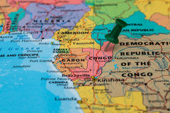 Map of Congo with a green pushpin stuck Royalty Free Stock Image