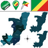 Map of Congo with Named Departments Stock Photos
