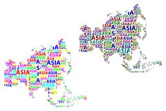 Map of continent Asia - vector illustration. Sketch Asia letter text continent, Asia word - in the shape of the continent, Map of continent Asia - color vector Stock Photography
