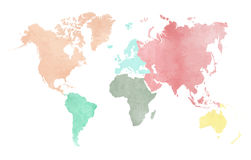 MAP OF THE CONTINENTAL WORLD IN WATERCOLOR Royalty Free Stock Photography
