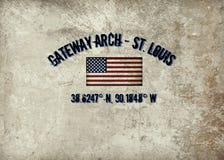 Gateway Arch St. Louis, Mo. The map coordinates of historic Gateway Arch in St. Louis, MO vector illustration