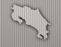 Map of Costa Rica on corrugated iron Royalty Free Stock Photos