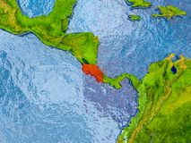 Map of Costa Rica. Costa Rica in red on realistic map with embossed countries. 3D illustration. Elements of this image furnished by NASA Royalty Free Stock Images