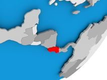 Map of Costa Rica. 3D render of Costa Rica on political globe. 3D illustration Stock Photo