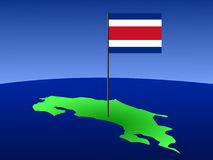 Map of Costa Rica with flag. Map of Costa Rica and Costa Rican flag on pole illustration Royalty Free Stock Photos