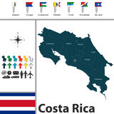 Map of Costa Rica with flags Royalty Free Stock Photography