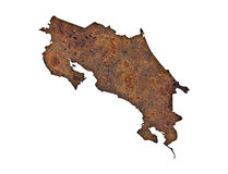 Map of Costa Rica on rusty metal Stock Image