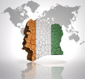 Map of Cote D& x27;Ivoire. Map of Cote D& x27;Ivoire  with Cote D& x27;Ivoire  Flag on a world map background Stock Photo