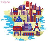 Map of country France with building and famous monument. In vector Stock Images