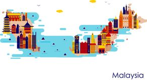 Map of country Malaysia with building and famous monument. In vector stock illustration