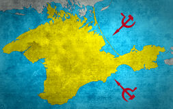 The map of Crimea with the Russian expansion Stock Photography